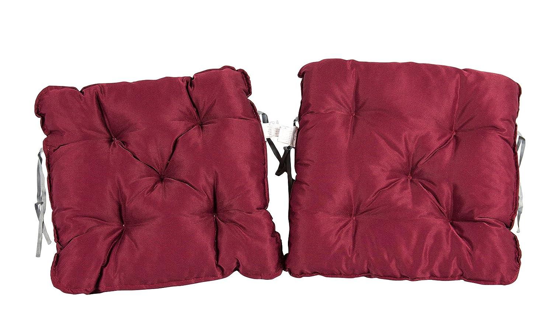 50 x 50 x 10 cm Meerweh 2er Set Auflage f/ür Sessel Nordisches Design Sitzpolster Sitzkissen Rot