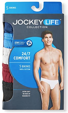 ae62f1beabea4 Jockey Life Collection 5-Pack Men s 24 7 Comfort Staycool Assorted Bikini  Briefs at Amazon Men s Clothing store