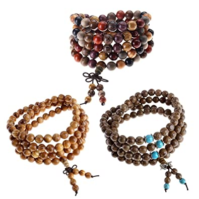 SODIAL(R) NEW 108 Sandalwood Buddhist Buddha Meditation Prayer Bead Mala Bracelet Necklace Y1w6qJ