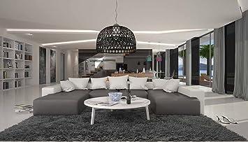 Wohn Landschaft XXL Mit Kunstleder Bezug 405x255 Cm U Form Grau / Weiß |