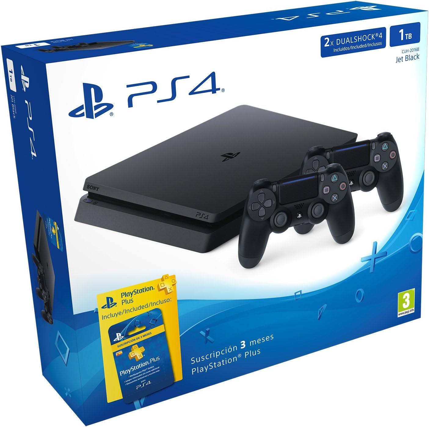 PlayStation 4 Slim (PS4) 1TB - Consola + 2 DualShock + PS Plus 90 ...