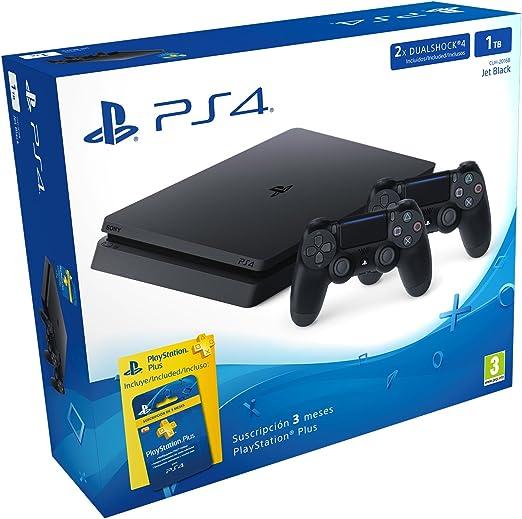 PlayStation 4 Slim (PS4) 1TB - Consola + 2 DualShock + PS Plus 90 Días: Amazon.es: Videojuegos