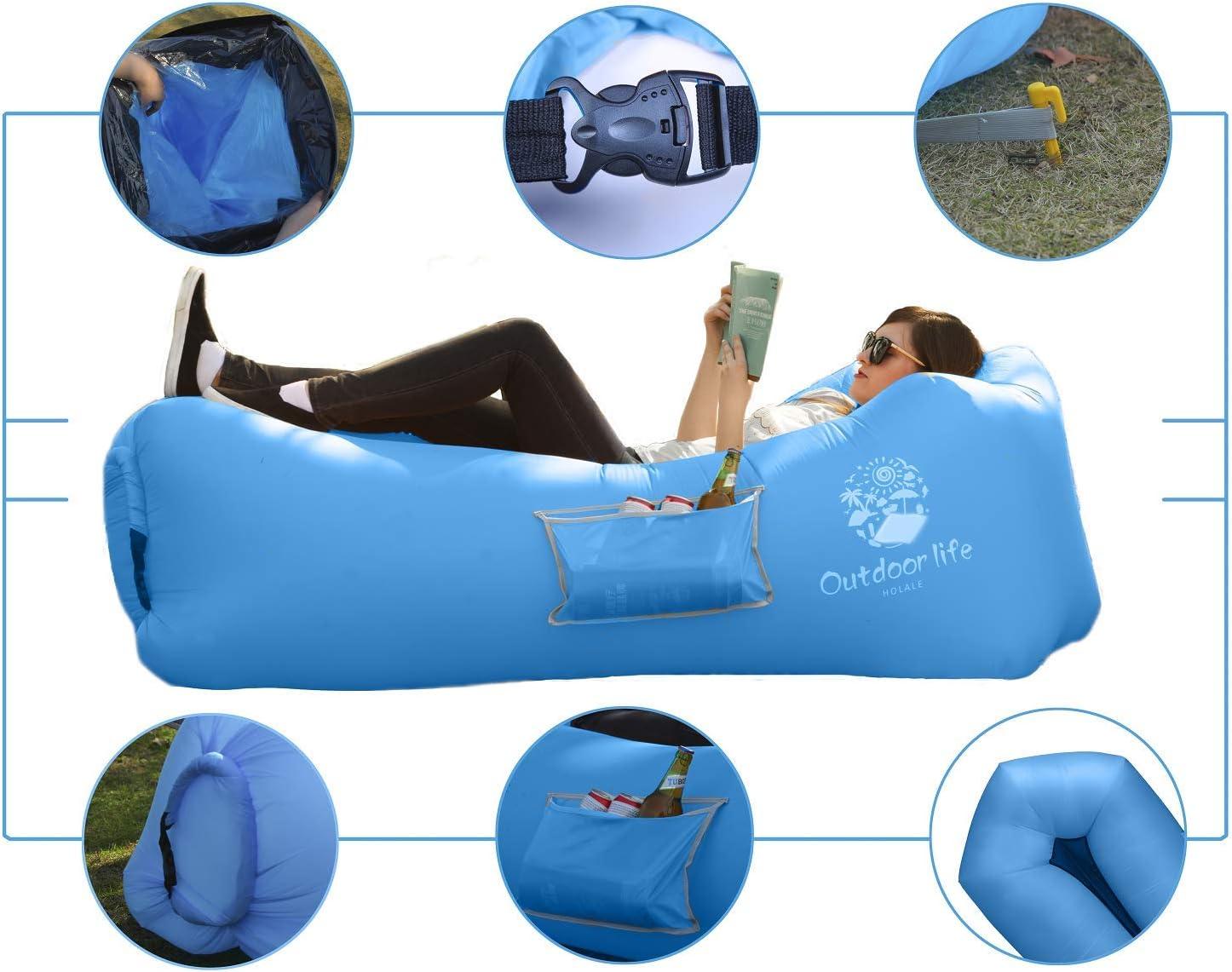 Amazon.com: HOLALE 2019 tumbona hinchable de aire sofá ...