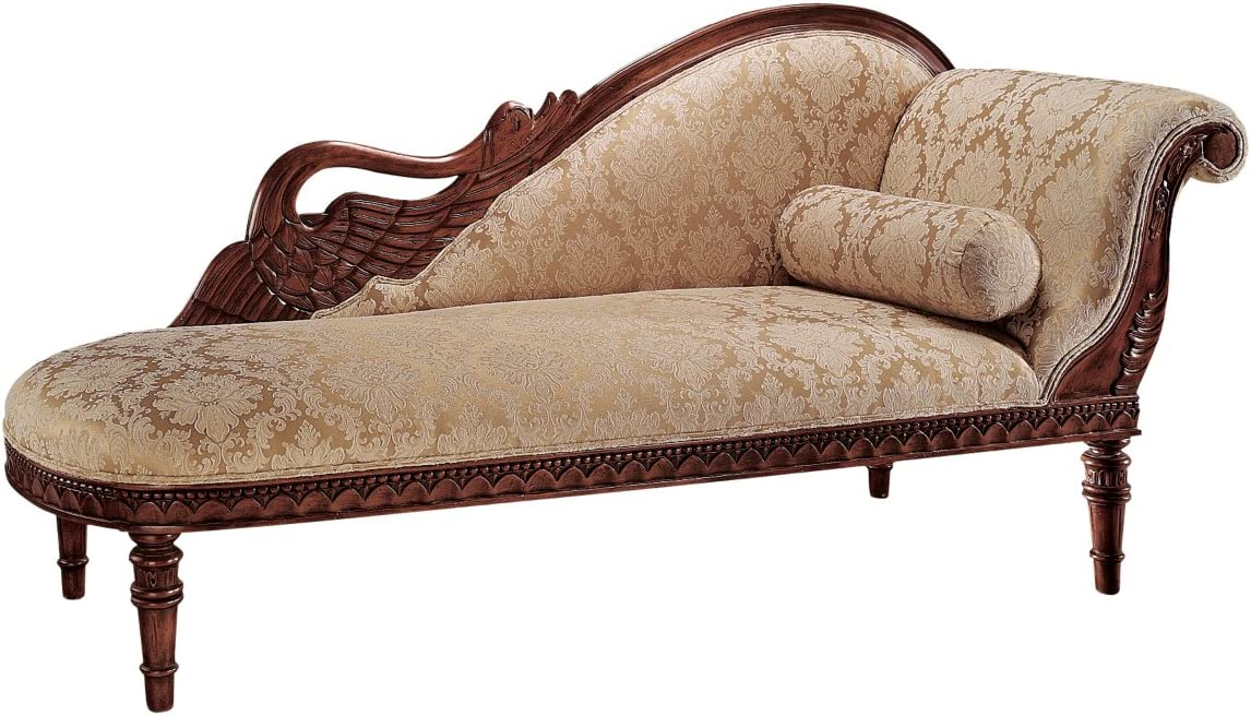 Design Toscano Swan Fabric Chaise Lounge