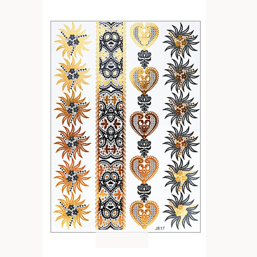 Metallic Temporary Tattoos for Women Glittery Waterproof Tattoos Stickers Removable Art Paper Fake Tattoos Party Favors for Women & Girls 1PC (A)