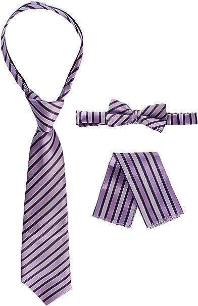 New Kids Boys Zipper up Adjustable Pre-tied Necktie Blue Black Stripes formal