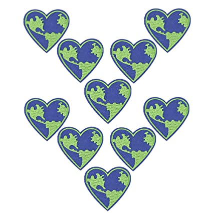 10 Pack Save The Earth Iron on Patches Heart Shaped Round Badges Sew Embroidered Appliques for Motif for Clothing Repair Jeans Jackets Backpacks