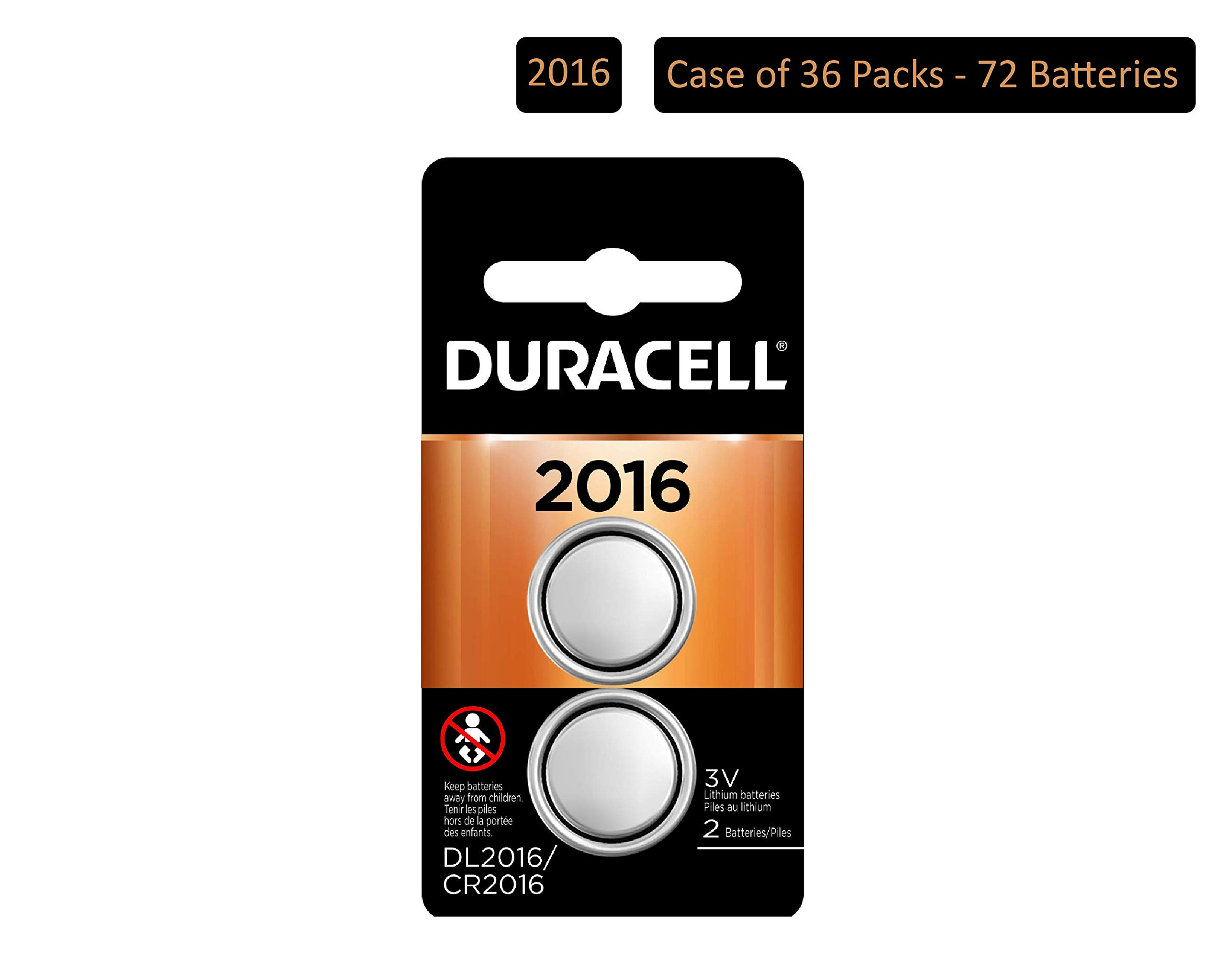 Duracell - 2016 3V Lithium Coin Battery - long lasting battery - 2 count (Pack of 36)