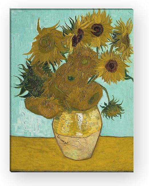 Wandkings Lienzo jarrón con Girasoles de Van Gogh/60 x 80 cm/EN ...
