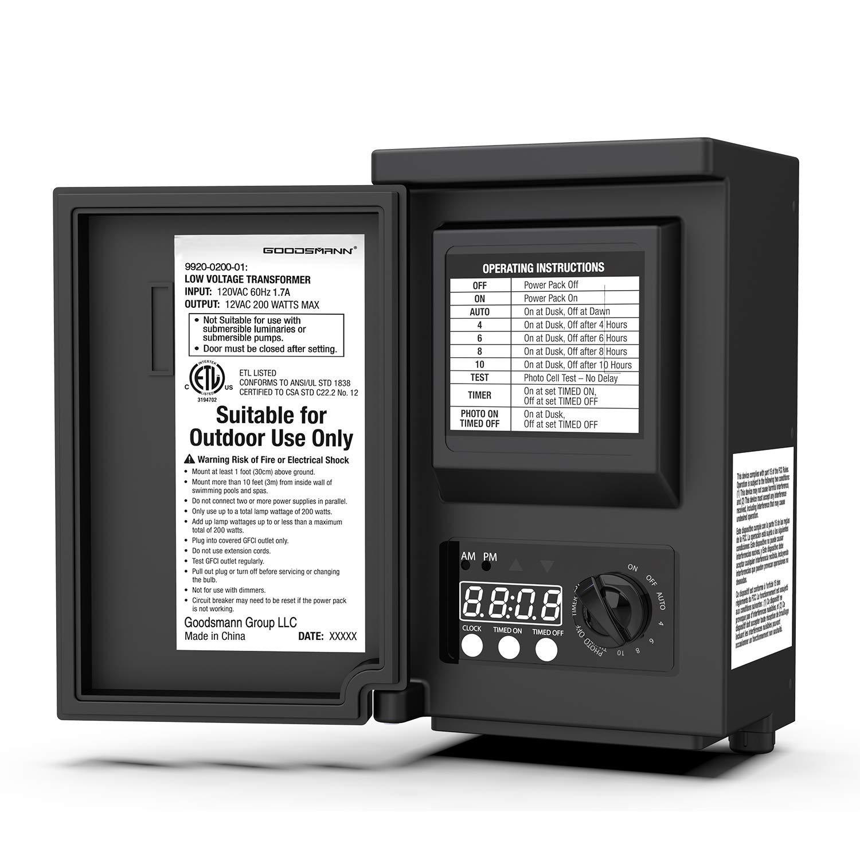 GOODSMANN 200 Watt Power Pack with Sensor and Weather Shield for Low Voltage Landscape Lighting and Spotlight Outdoor Transformer 120V Input 12V Output 9920-0200-01 by GOODSMANN