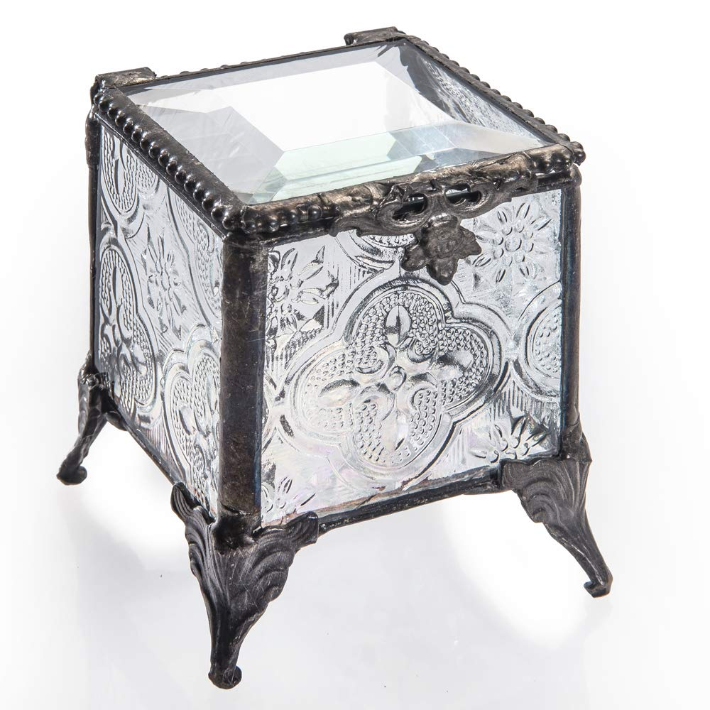 J Devlin Box 153-2 Clear Vintage Glass Trinket Box for Jewelry and Keepsake Chest by J Devlin Glass Art