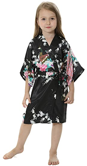 Amazon.com  JOYTTON Girls  Satin Kimono Peacock Flower Robe for Spa ... 587f6bfee
