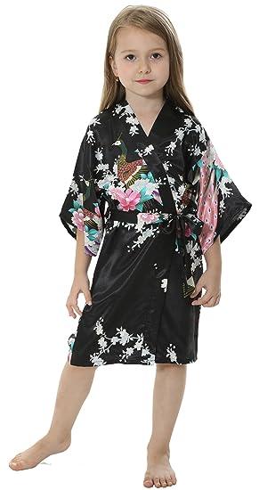 314ef41db Amazon.com  JOYTTON Girls  Satin Kimono Peacock Flower Robe for Spa ...