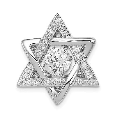 38faff5dfe4 925 Sterling Silver Platinum Plated Vibrant Cubic Zirconia Cz Jewish Jewelry  Star Of David Pendant Charm