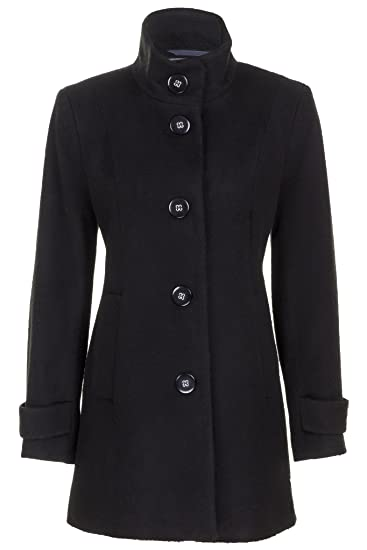 47632d71a6d Busy Clothing Womens Black High Neck Wool Blend Coat Size 16  Amazon.co.uk   Clothing
