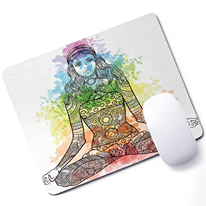 Amazon.com : Yoga Mouse pad Tattoo Mehndi Style Vintage ...