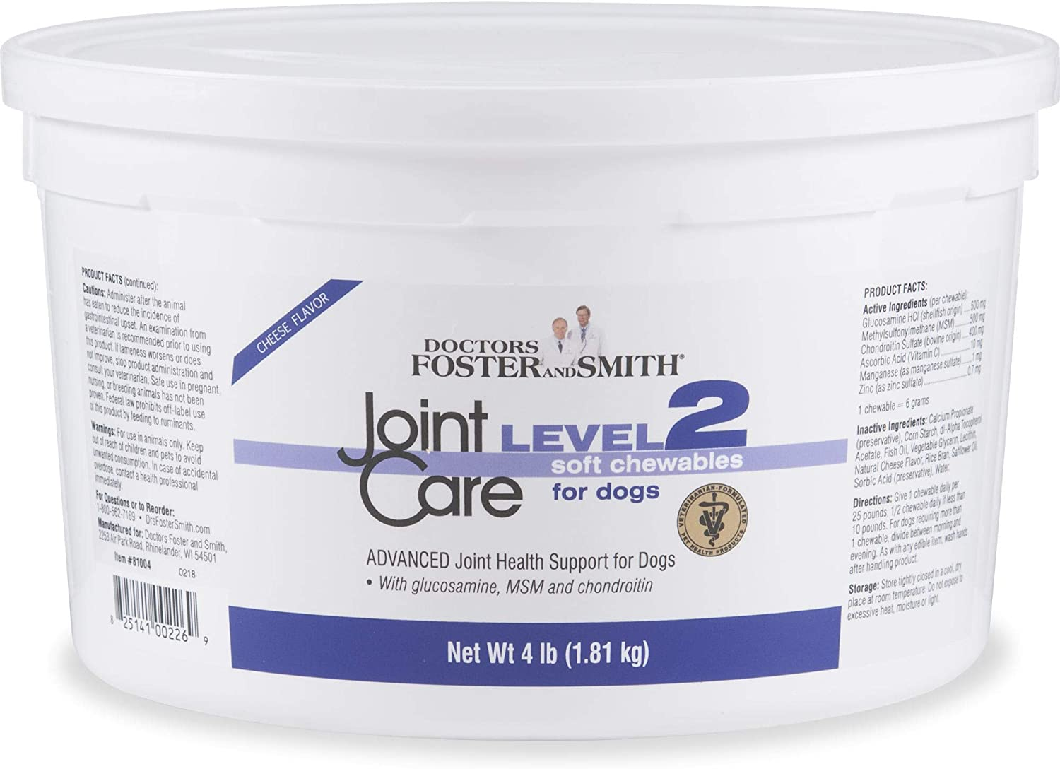 DRS. Foster and Smith Level 2 Joint Care Soft Chews for Dogs, 4 lbs.
