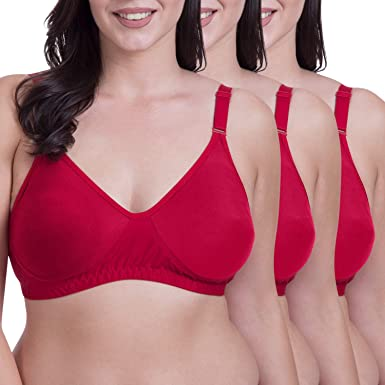 8c83511fe4870 Rajnie Plus Size Seamless Red Cotton Bra - (Pack of 3)  Amazon.in  Clothing    Accessories