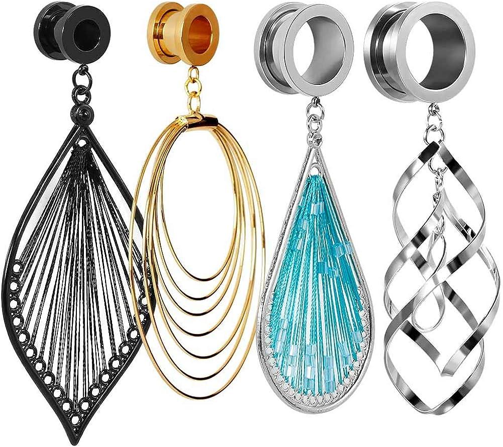 TBOSEN 8 PCS Stainless Steel Screw Ear Gauges Large Dangle Plugs Tunnels Expander Body Piercing Jewelry Set