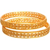 JFL - Traditional Ethnic Stunning Spiral One Gram Gold Plated Designer Bangles for Girls and Women
