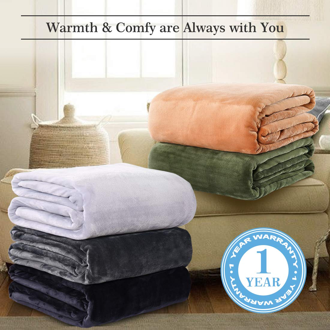 LEISURE TOWN Fleece Blanket King Size Fuzzy Soft Plush Blanket Oversized 330GSM for All Season Spring Summer Autumn Throws for Couch Bed Sofa, 108 by 90 Inches, Dark Grey