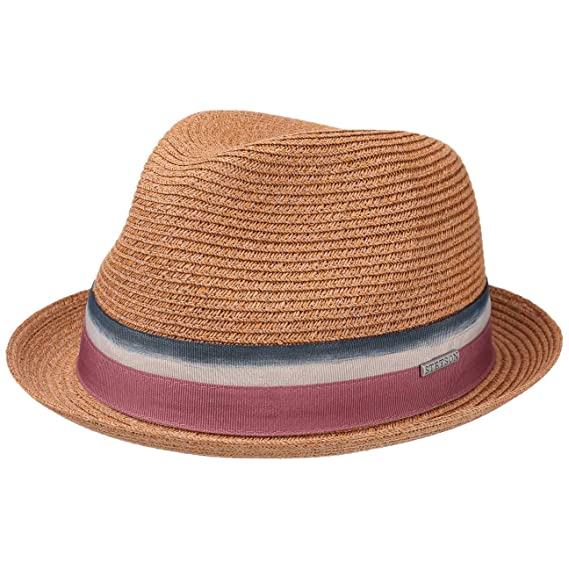 0f078927e165e1 Stetson Striped Ribbon Player Straw Hat Women/Men | Sun Summer with Chin  Strap Spring-Summer: Amazon.co.uk: Clothing