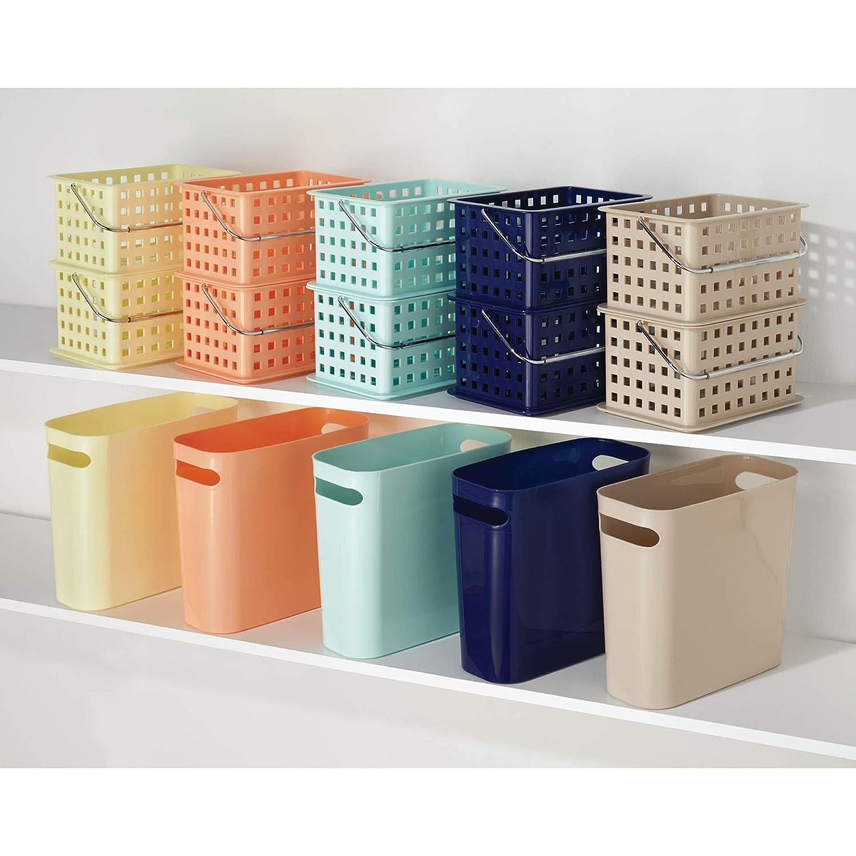 Blanco InterDesign Basic Cesta organizadora canasto Organizador de ba/ño de tama/ño Mediano en pl/ástico para art/ículos de Ducha y cosm/ética