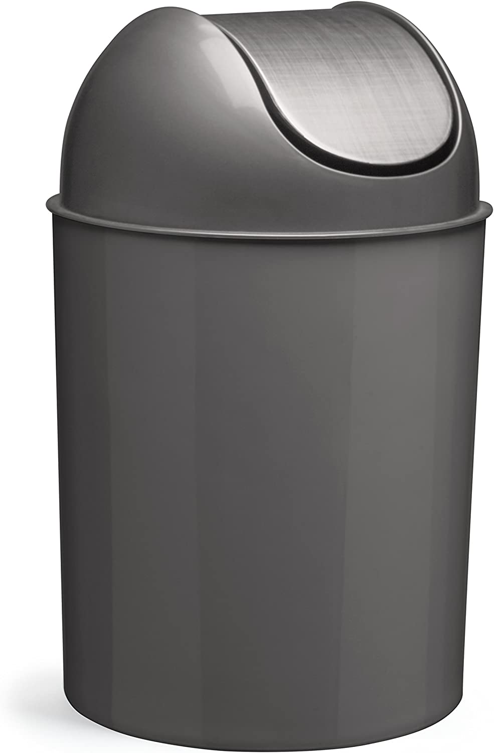 Umbra Mezzo, 2.5 Gallon Trash Can with Lid, Ideal For Small Spaces, Home and Office, Brushed Silver