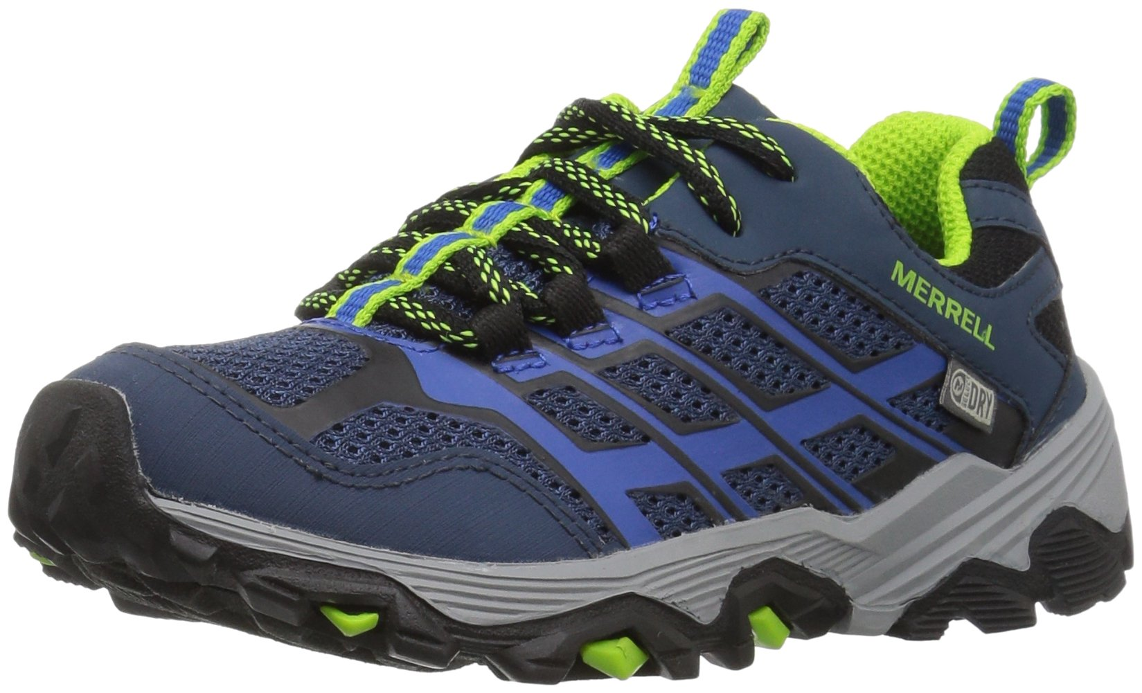 Merrell Moab Fst Low Waterproof Sneaker (Little Kid/Big Kid), Navy/Blue, 4 Medium US Big Kid