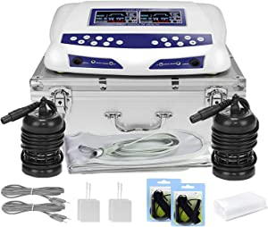 Dual Ionic Detox Foot Bath Machine, Digital LCD Display Ionic Ion Spa Chi Cleanse Cell Detoxification Machine with Aluminum Box, Waist Belts, 2 Arrays, 10 Liners
