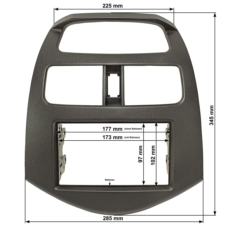 schwarz Daewoo Matiz Creative tomzz Audio 2406-007 Doppel DIN Radioblende passend f/ür Chevrolet Spark 2010-2012