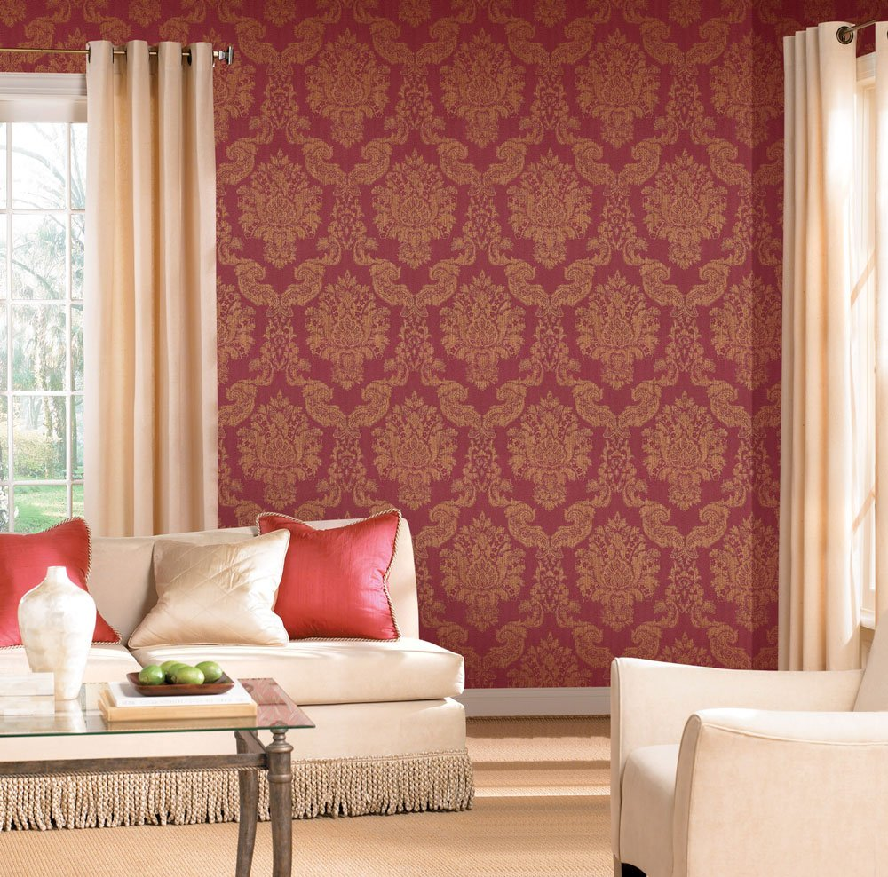 modern louis red gold foil vinyl damask wallpaper for walls
