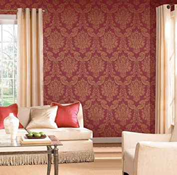 Modern Louis Red / Gold Foil Vinyl Damask Wallpaper For Walls   Double Roll    By