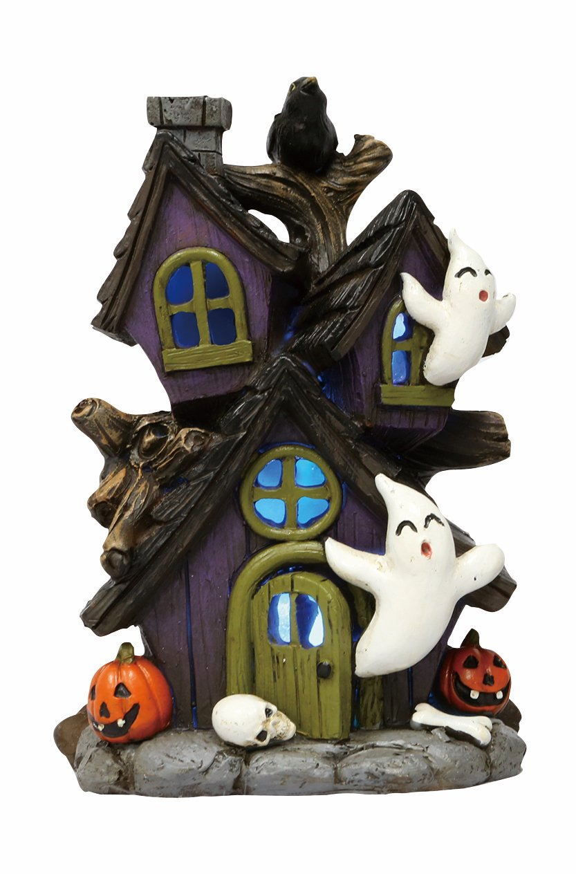One Holiday Lane Mini LED Light-up Color-Changing Haunted Halloween Ghost House Tabletop Decoration (Tree)