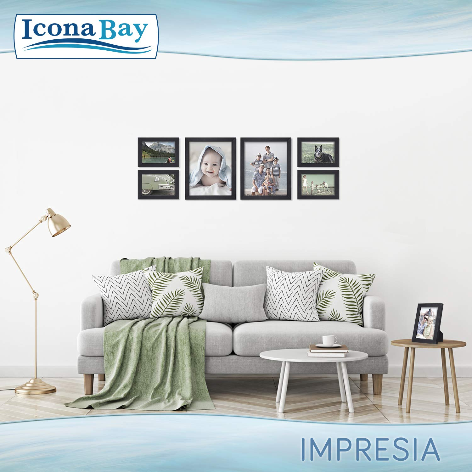 Icona Bay 8x10 Picture Frame Pack (4 Pack, Black) 8 x 10 Frame, Tabletop and Wall Hang Hardware Included with Photo Frames, Impresia Collection by Icona Bay (Image #7)