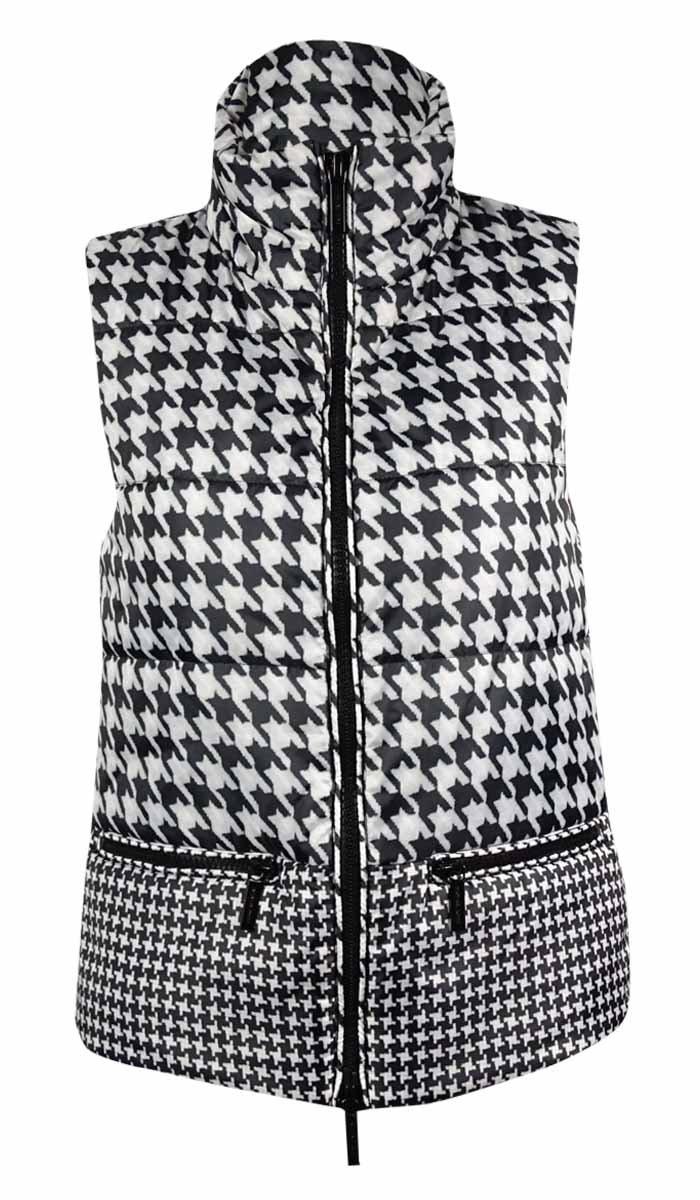 MICHAEL Michael Kors Women's Houndstooth Puffer Vest (XS, Ecru) by MICHAEL Michael Kors