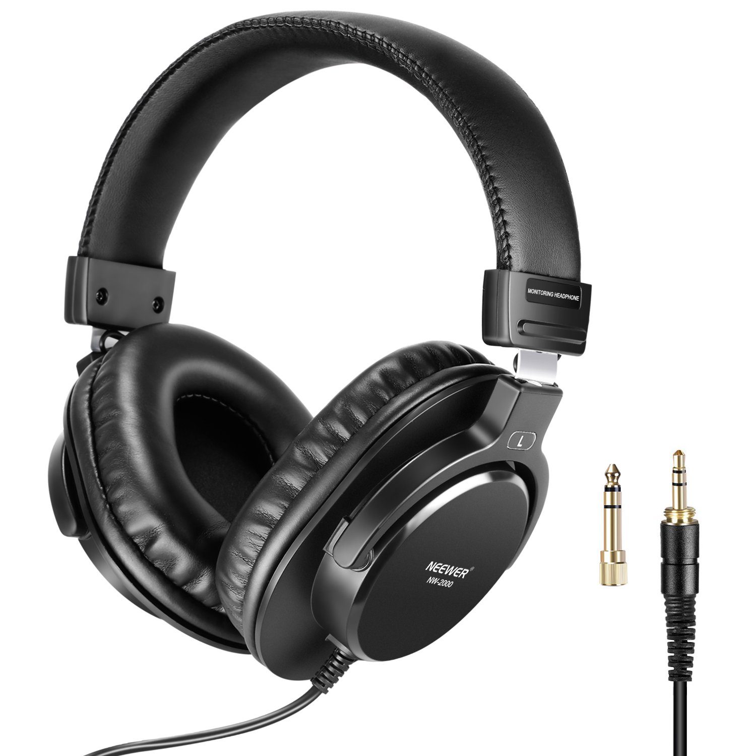 Neewer Studio Monitor Headphones – Dynamic Rotatable Headsets with 40mm Loudhailer Driver, 3 meters Cable, 6.35mm Plug Adapter for PC, Cell Phones, TV NW-2000