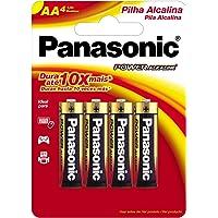 Pilha Alcalina Pequena AA com 4, Panasonic, LR6XAB/4B192, Pacote de 4