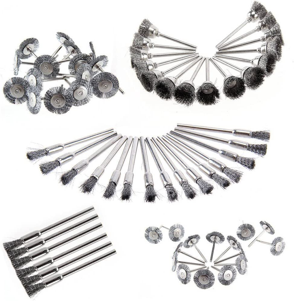 Flykee 45 Pcs Stainless Steel Wire Cup Mix Brush Set Fits Dremel Rotary Tool Accessories Sets
