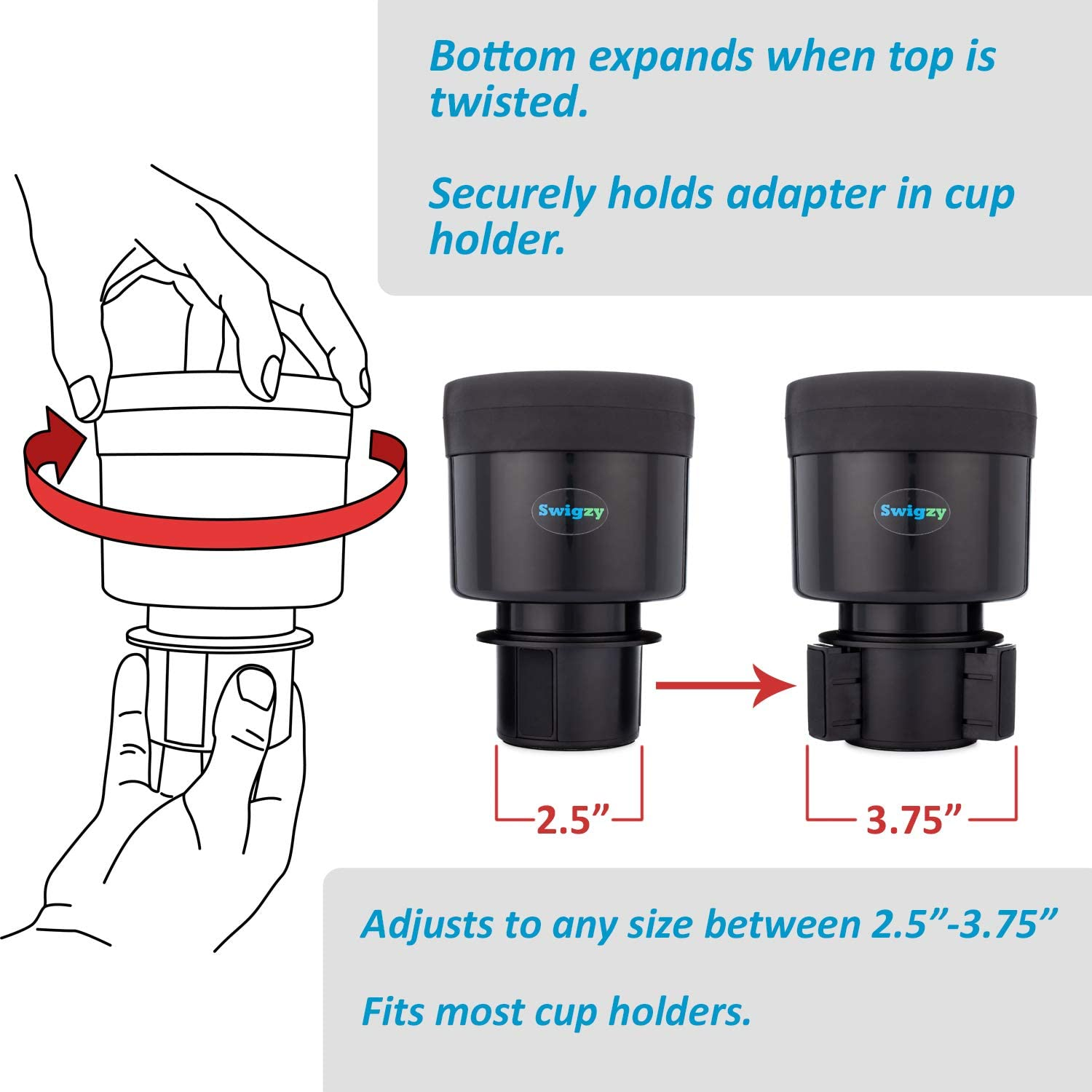 Large Drinks and More Car Accessory Insert Expander for Mugs OxGord Cup Holder Adapter 3-Ring Adjustable /& Extendable Securely Fits 32oz//40oz Bottles Cups