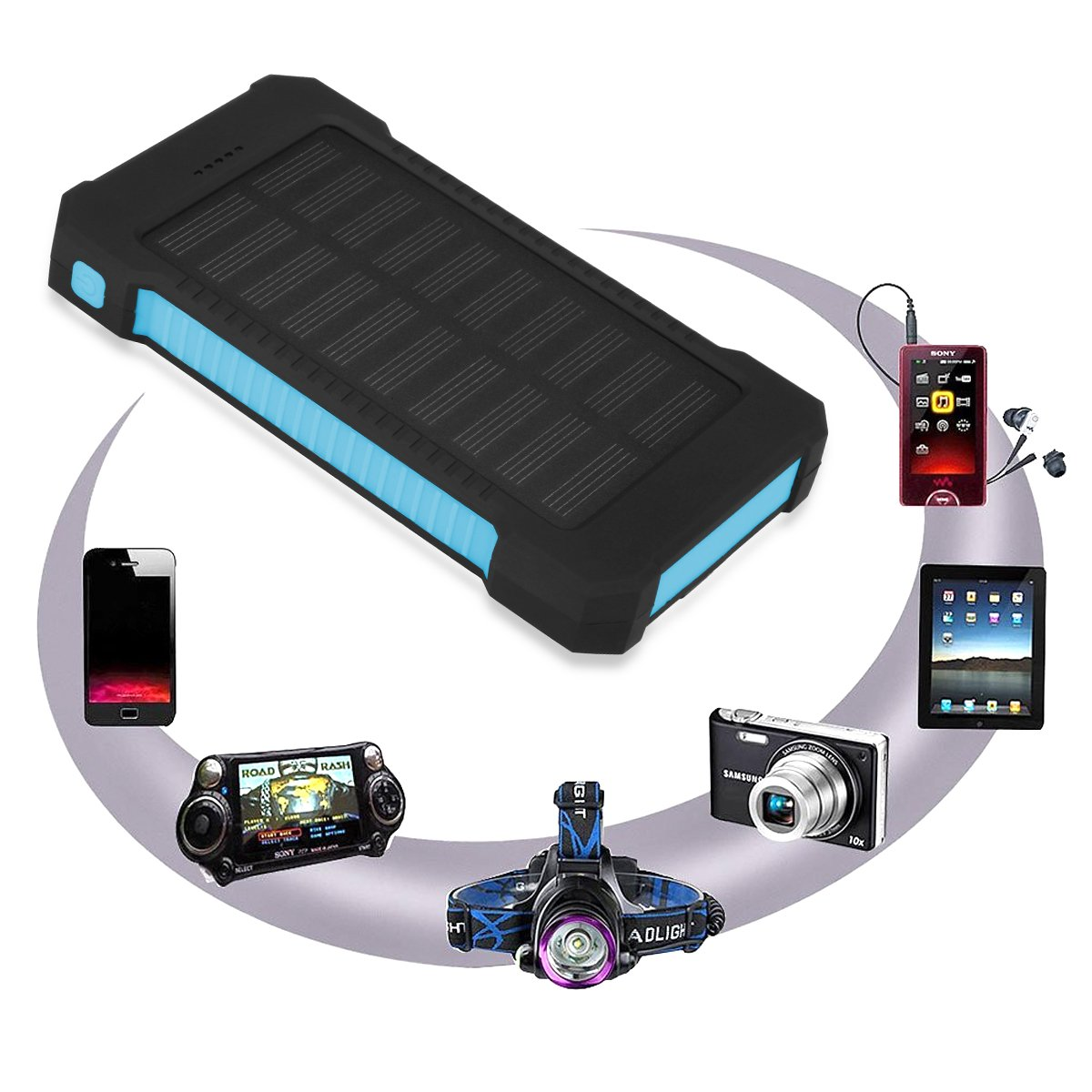2/Sorties USB pour Smartphone iPad iPhone Floureon Batterie Externe Solaire 10000/mAh Solaire Power Bank impereable avec LED SOS