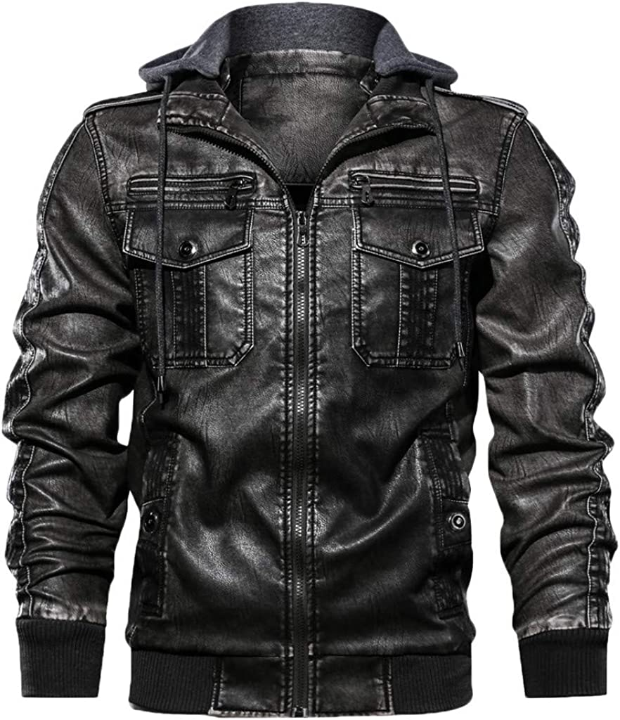 iHENGH❂Sweat Zipper Vintage Automne Hiver Hommes Pure Color Imitation Manteau en Cuir Manteau /épais Veste S//M//L//XL//XXL