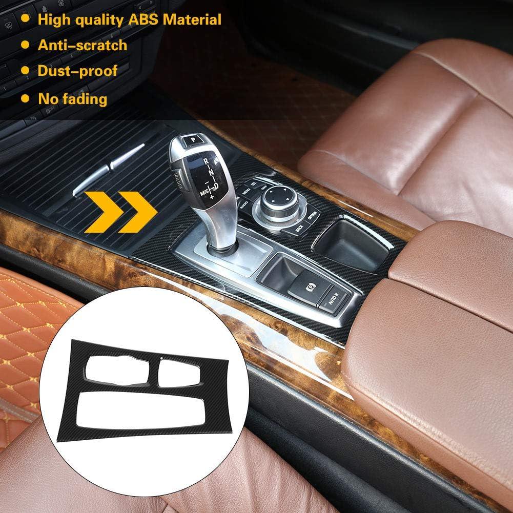 Garniture de couvercle de bo/îtier de bo/îte de vitesses de voiture , Garniture de couvercle de panneau de bo/îte de vitesses de console centrale de style console en fibre de carbone pour X5 X6 E70 E71 2
