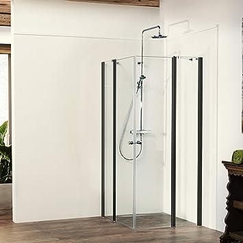Mampara de ducha Vital 2 Black Edition de 4 piezas, puerta colgante con parte fija ESG de 6 mm, fabricado en Alemania, 90 x 90 cm: Amazon.es: Bricolaje y herramientas