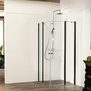 Mampara de ducha Vital 2 Black Edition de 4 piezas, puerta ...