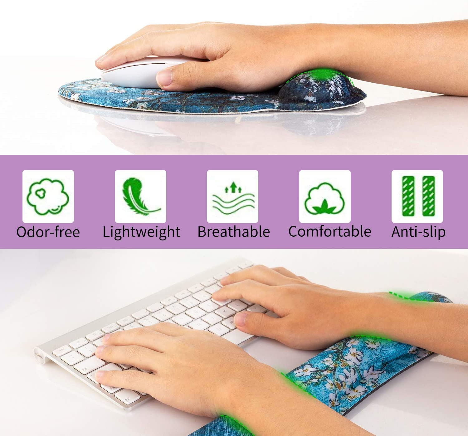 AORTDES Memory Foam Set Ergonomic Keyboard Mouse Pad Wrist Support Comfortable /& Lightweight for Easy Typing /& Pain Relief Durable Keyboard Wrist Rest for Computer//Laptop//Gaming//Office World Map