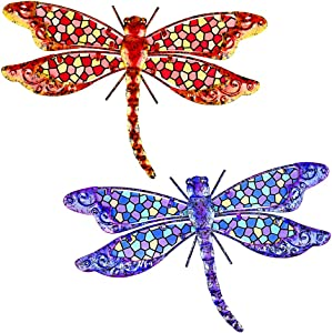 Tfro & Cile Metal Dragonfly Wall Decor 2 Pack Outdoor Garden Art Hanging Glass Decoration for Bedroom
