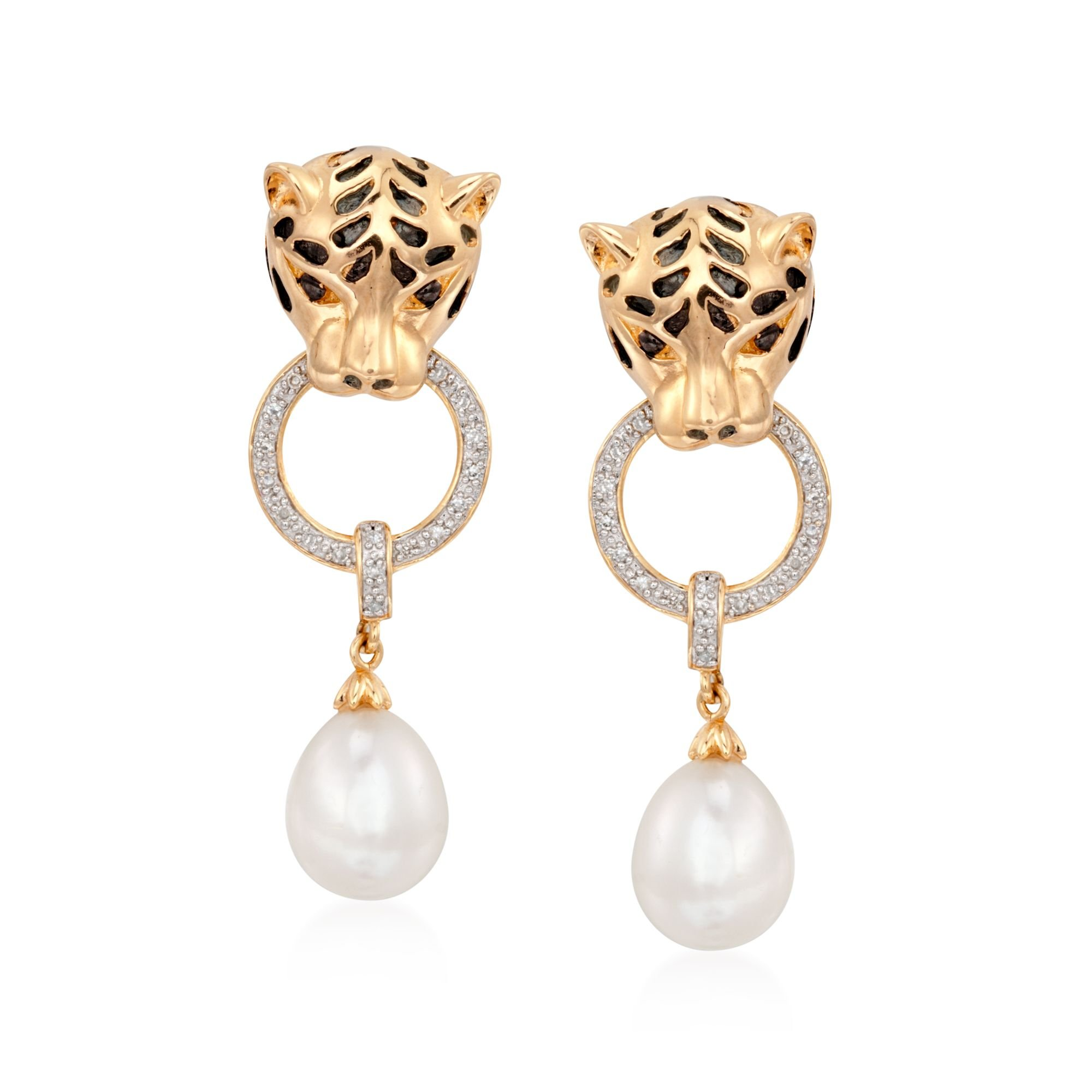 Ross-Simons 8.5-9mm Cultured Pearl and .10 ct. t.w. Diamond Panther Earrings in 18kt Gold Over Sterling