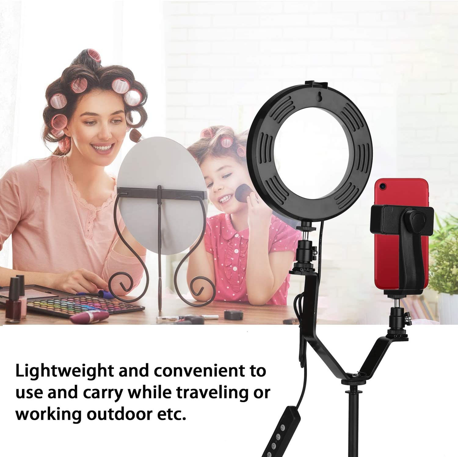 Andoer Ring Light with Stand 6 Inch Selfie Light with Phone Holder Dimmable 3-Color LED Selfie Round Light USB Interface for Vlogging YouTube Video Shooting Make-up Selfie