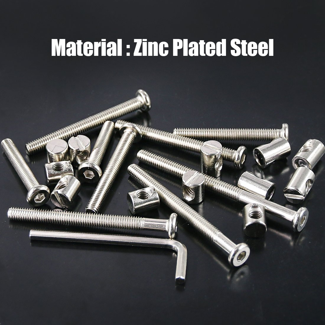 Cots Swpeet 100Pcs Crib Hardware Screws Nicked Plated M6 x35//45//55//65//75mm Hex Socket Head Cap Crib Baby Bed Bolt and Barrel Nuts with 1 x Allen Wrench Perfect for Furniture Crib Screws